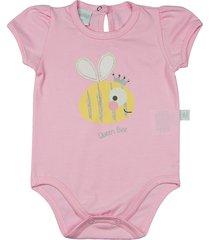body ano zero bebê cotton abelhinha queen bee - rosa