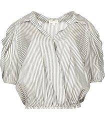 cropped blouse met zilveren lurex amani  zwart