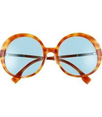 women's fendi 57mm round sunglasses - brown yellow havana/ blue