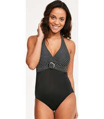 tailor underwire tummy control stripe one-piece swimsuit - longer length d-gg