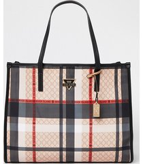 river island womens beige check square shopper bag
