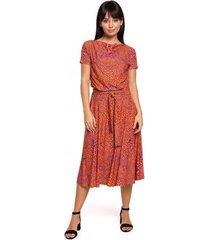 lange jurk be b144 bedrukte uitlopende jurk - oranje