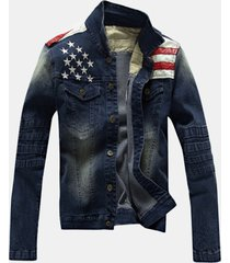 mens fall winter denim camicia stitching fashion sottile fit giacca colletto alla rovescia