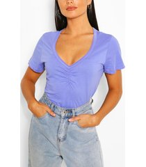 sweetheart neck ruched detail top, purple
