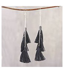 cotton dangle earrings, 'dancing fringe in graphite' (india)