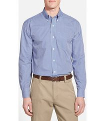 men's big & tall cutter & buck epic easy care classic fit wrinkle free gingham sport shirt, size 4xlt - blue