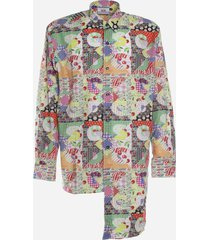 gcds asymmetrical shirt with patchwork print