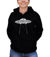 women's word art flying saucer ufo hooded sweatshirt
