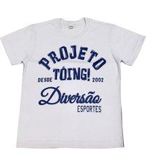 camiseta malha 100% algodão masculina tóing! branca e azul