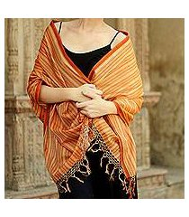 cotton and silk shawl, 'india sunset' (india)