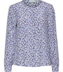ines printed blouse blouse lange mouwen blauw morris lady
