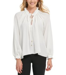 dkny ruffled tie-neck blouse
