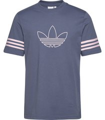 outline tee t-shirts short-sleeved blå adidas originals