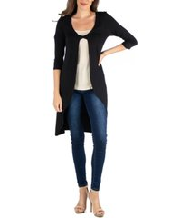 24seven comfort apparel fabric twist closed front long sleeve cardigan