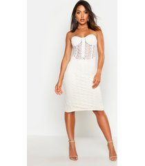 bandeau corset detail mesh midi dress, ivory