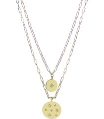 women's panacea crystal accent disc layered pendant necklace