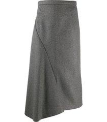 n.21 flannel straight skirt w/side zip
