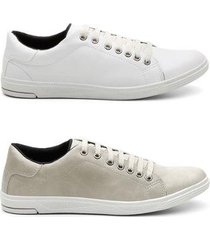kit 2 sapatênis casual estilo qualidade conforto masculino - masculino