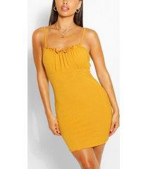 petite rib square neck bodycon dress, mustard
