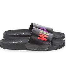 mah gender neutral walk proud pool slides - black rainbow - size w 9 / m 10 sandals