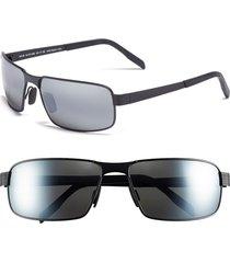 men's maui jim 'castaway - polarizedplus2' 63mm polarized sunglasses - matte black/ neutral grey