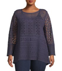 nic+zoe women's plus romance cotton lace blouse - blue print - size 1x (14-16)