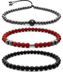 3 pulseiras gafeno de pedras vermelha