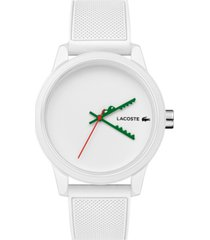 lacoste men's 12.12 swiss white silicone strap watch 42mm