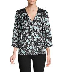 karl lagerfeld paris women's faux pearl embellished floral top - black multi - size s