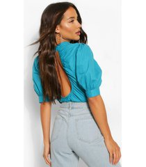 cotton poplin open back blouse, teal