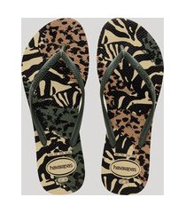 chinelo feminino havaianas slim estampado animal print bege