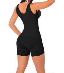 full body shaper high compression strappy waist trainer corset shapewear black