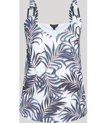 blusa feminina regata estampada decote em v off white