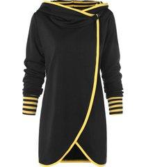 stripe trim tulip front tunic hoodie