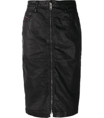 diesel high waisted zipped skirt - black