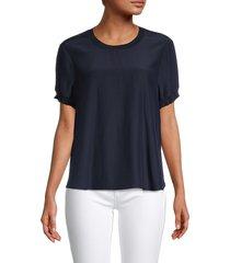 cinq à sept women's lenny silk top - navy - size l