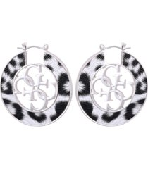 guess silver-tone medium animal print & quatro-g hoop earrings, 1.5""