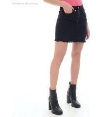 falda para mujer en denim negro color negro talla14