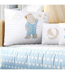 kit berã§o azul ursinho pijama estampa grã£o de gente azul - azul - menino - dafiti