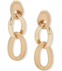 anne klein chain link clip-on drop earrings