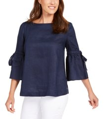 charter club petite linen lantern-sleeve top, created for macy's