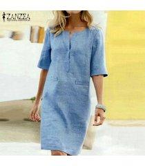 zanzea verano de las mujeres de manga corta con cuello en v vestido de las señoras de midi sueltos vestidos de la camiseta plus -azul
