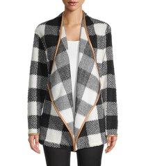 c & c california women's plaid open-front blazer - black buff - size m