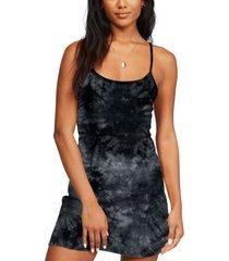 women's billabong easy on me tie dye dress, size large - black
