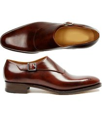 handmade monk leather shoes, men burgundy formal dress trendy single strap shoes
