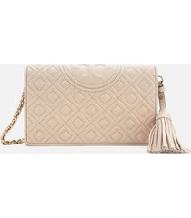 tory burch women's fleming wallet cross body bag - light taupe
