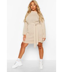 plus belted slouchy sweater dress, stone