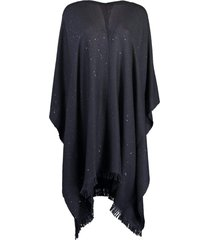 cashmere and silk poncho - midnight