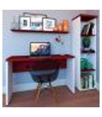 conjunto de mesa com estante e prateleira de escritório corp branco e vermelho