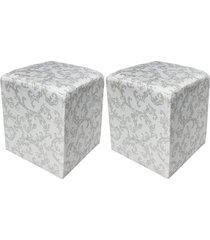 kit 02 puff dado quadrado estampado arabesco cinza a16 - d'rossi